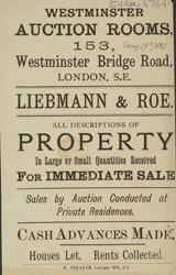 Advert for the Westminster Auction Rooms